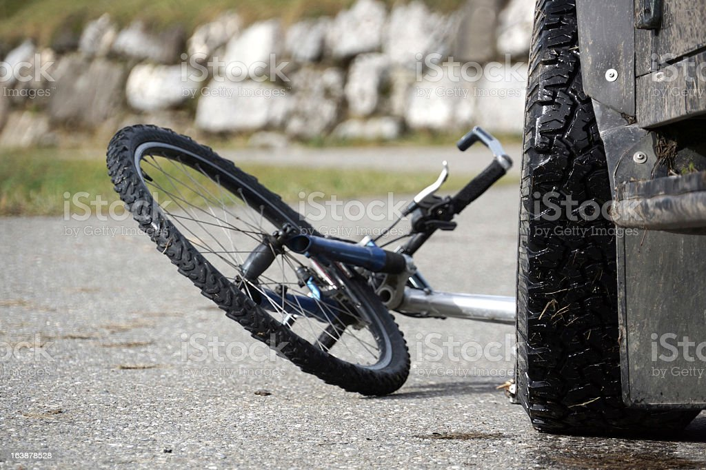 Collisions between a bicycle and a car stock photo