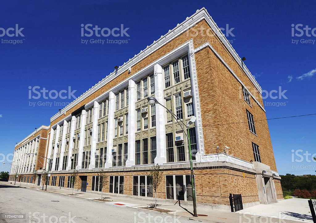 Colman Elementary School, Grand Boulevard, Chicago stock photo