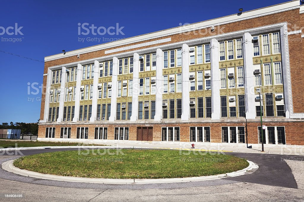 Colman Elementary School in Grand Boulevard, Chicago stock photo