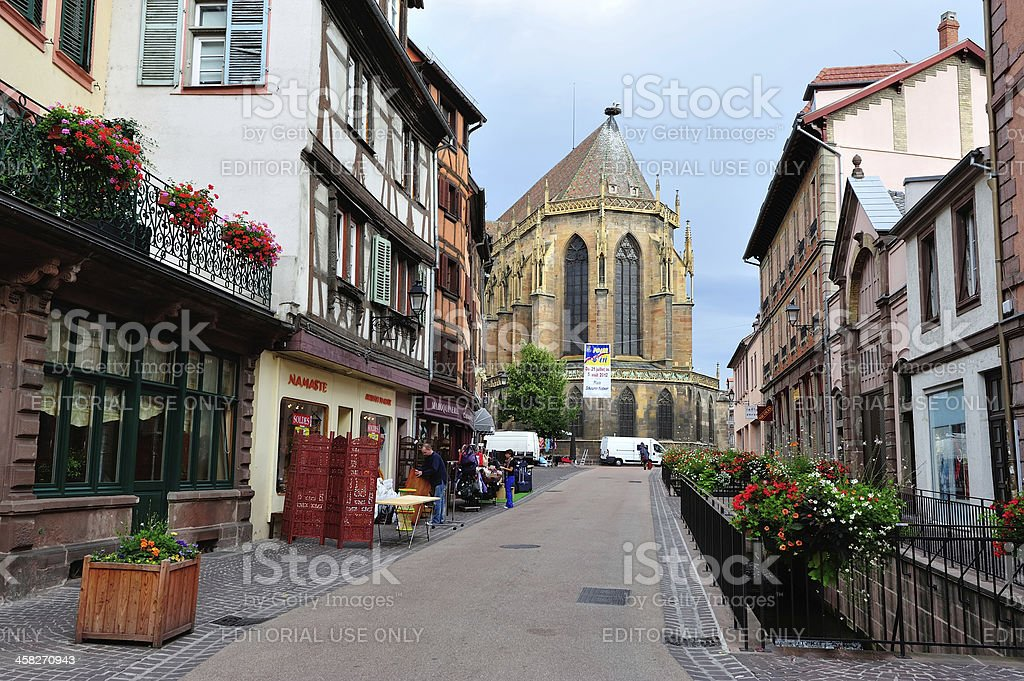 Colmar, Alsace and Saint Martin's Cathedral stock photo