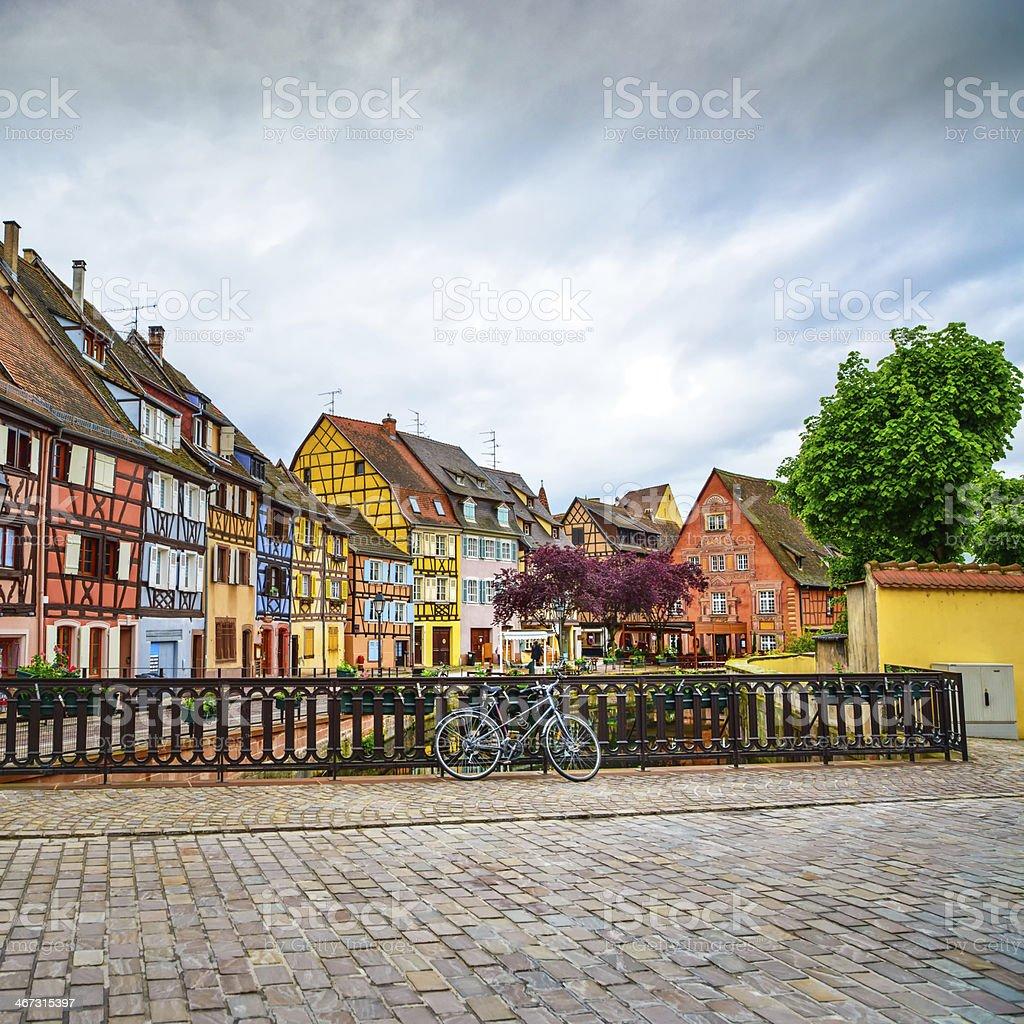 Colmar, Petit Venice, bridge, bike and traditional houses. Alsace, France. stock photo