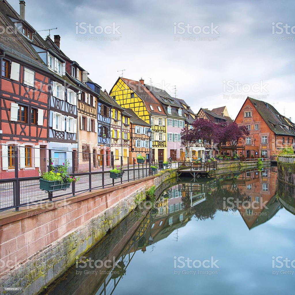 Colmar, Petit Venice, water canal and traditional houses. Alsace, France. stock photo