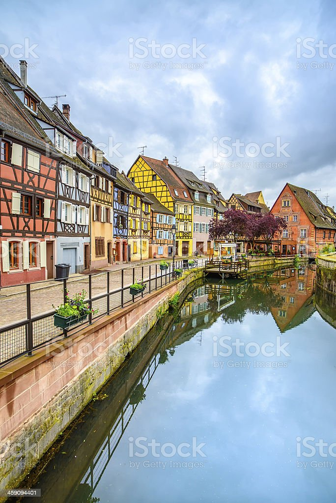 Colmar, Petit Venice, water canal and traditional houses.  France. stock photo
