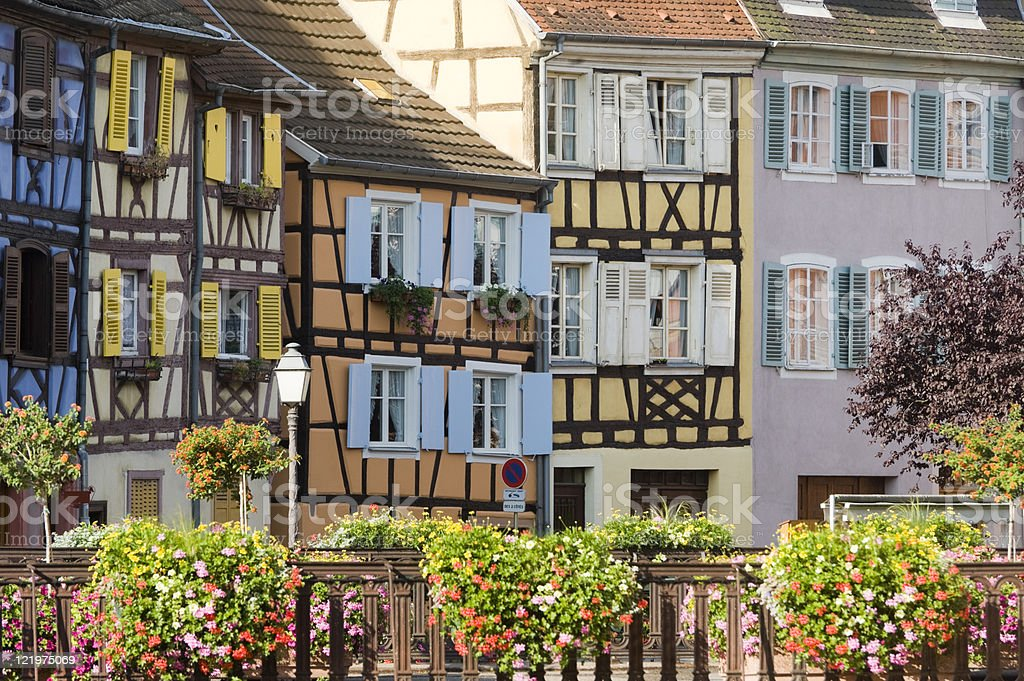Colmar (Alsace, France), Petite Venise, old half-timbered houses and flowers stock photo