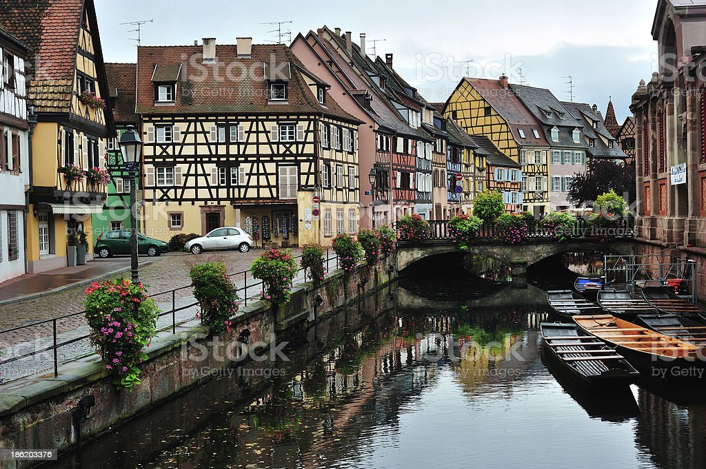 Colmar town street scene, France stock photo
