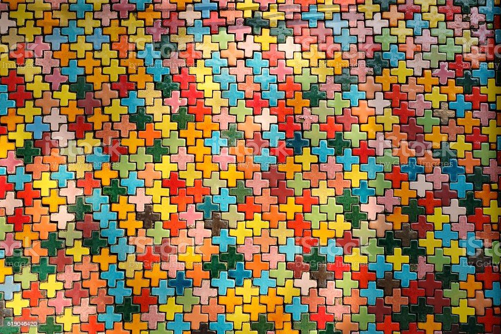 coloful ceramic cross tile texture stock photo