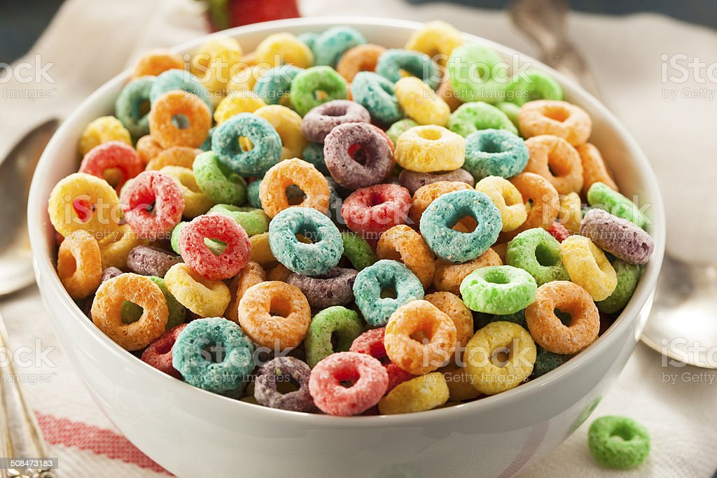 Coloful Fruit Cereal Loops stock photo