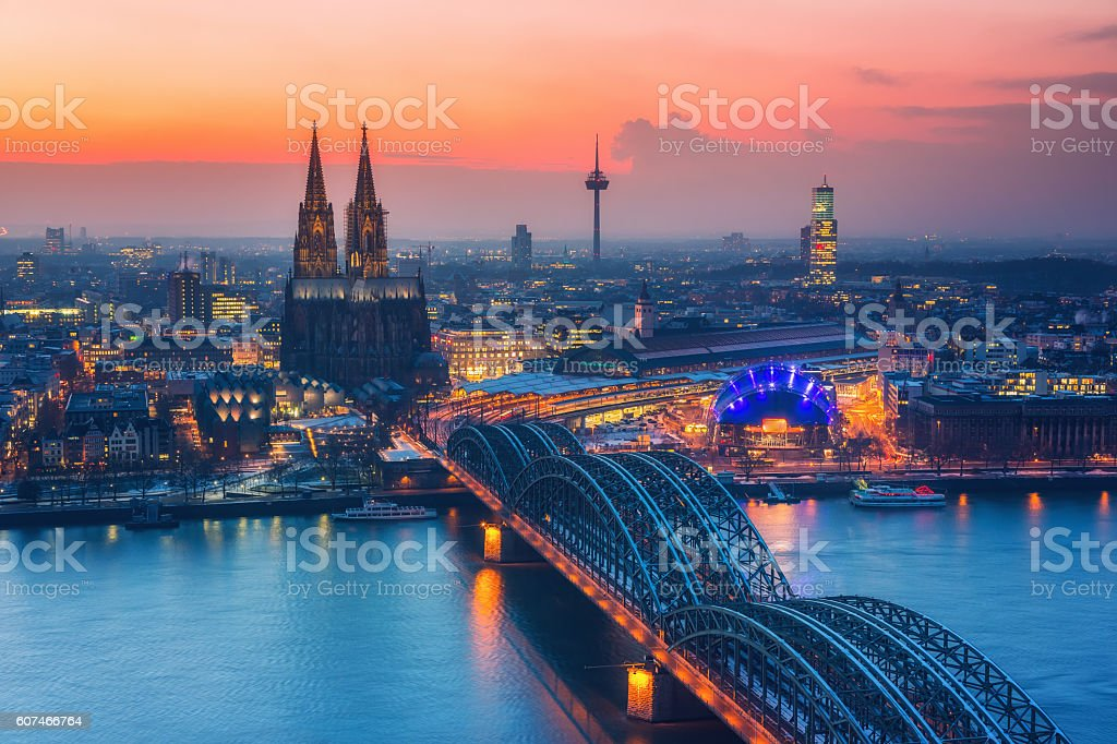 Cologne at dusk stock photo