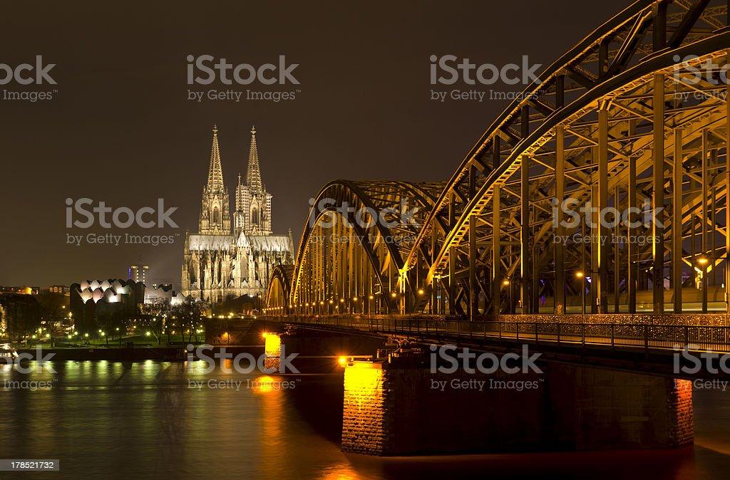 Cologne at night royalty-free stock photo