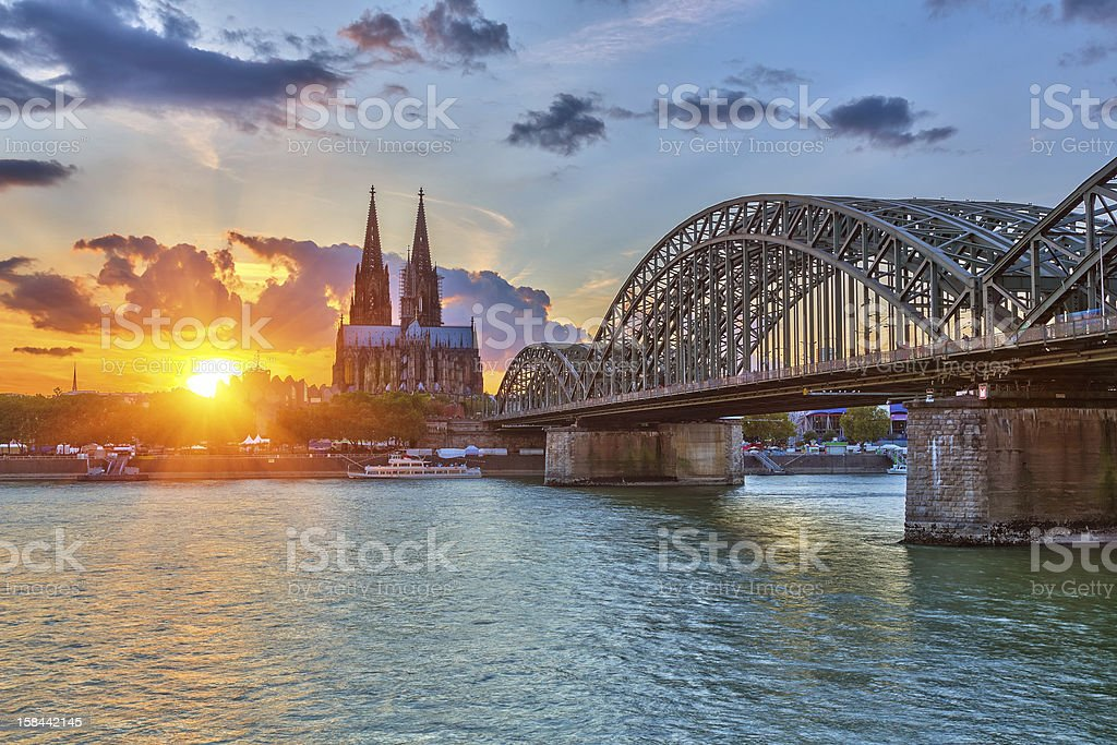 Cologne at sunset stock photo