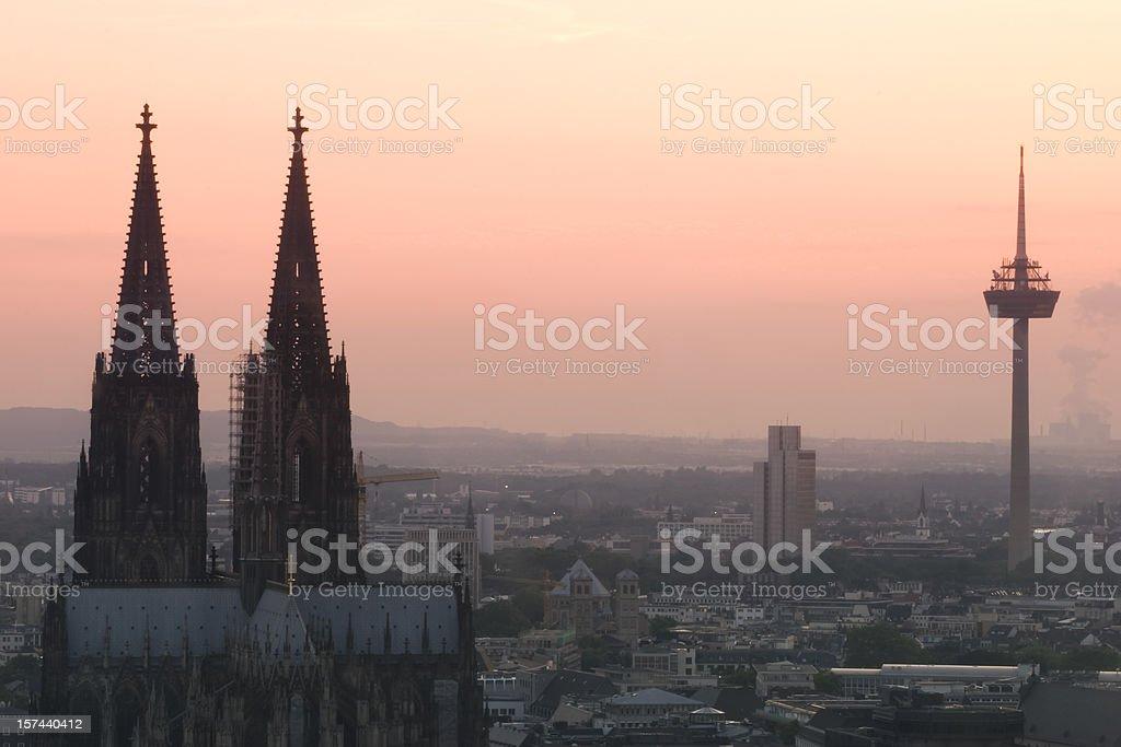 Cologne at sunset, skyline, orange sky, copy space stock photo