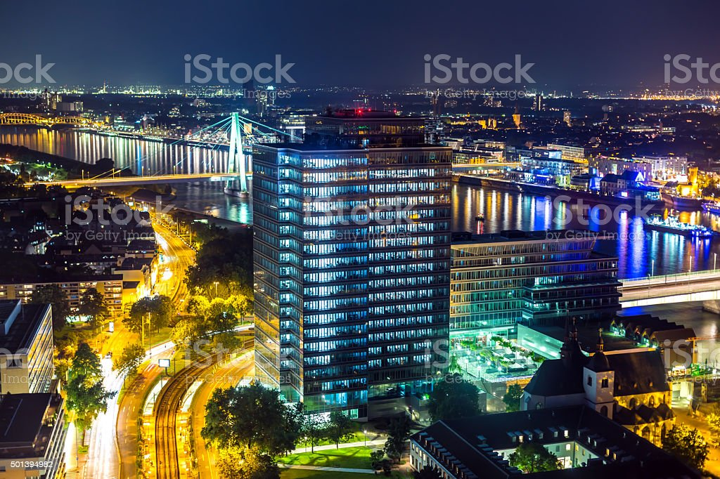 Cologne Business District in the night stock photo