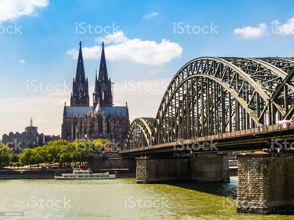 Cologne Cathedral and Hohenzollern Bridge, Cologne, Germany stock photo