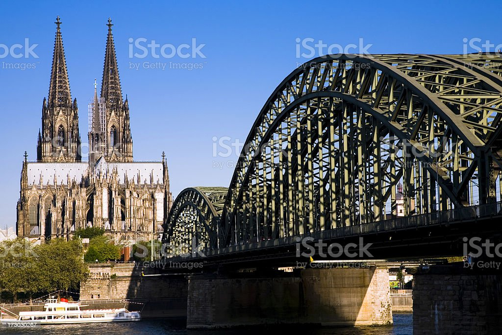 Cologne Cathedral and Hohenzollern Brigde royalty-free stock photo