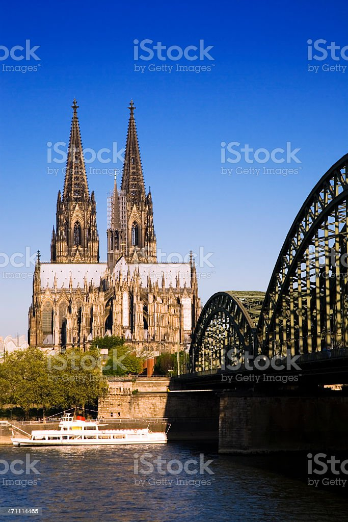 Cologne Cathedral and Hohenzollern Brigde stock photo