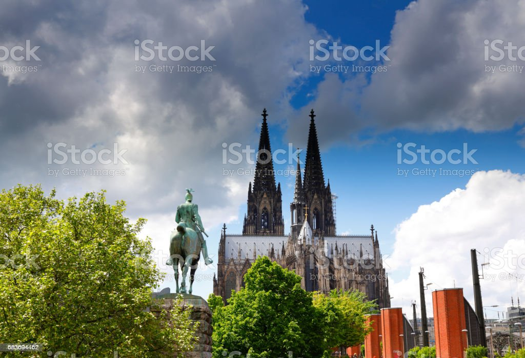 Cologne Cathedral and Kaiser Wilhelm I. sculpture stock photo