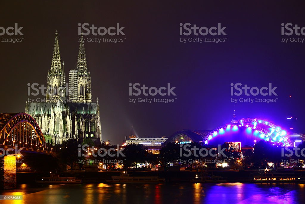 Cologne Cathedral and Music Dom at night stock photo