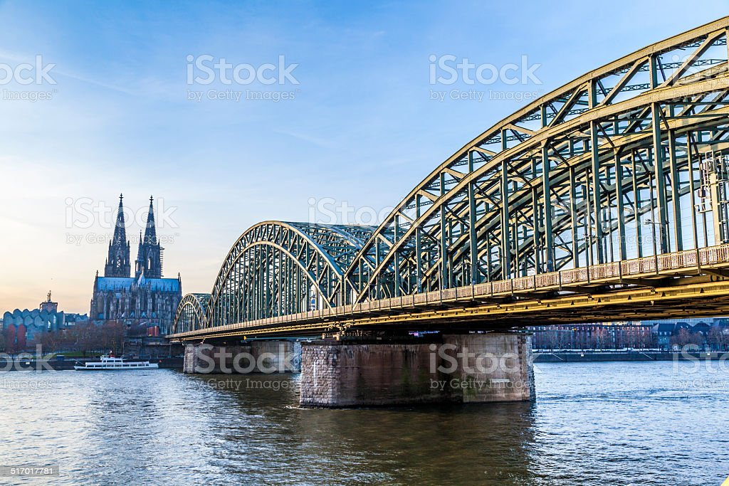 Cologne Cathedral and skyline, Germany stock photo
