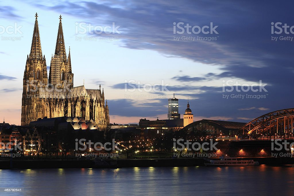 Cologne cathedral at dusk stock photo