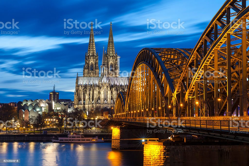 Cologne Cathedral at night, Germany stock photo