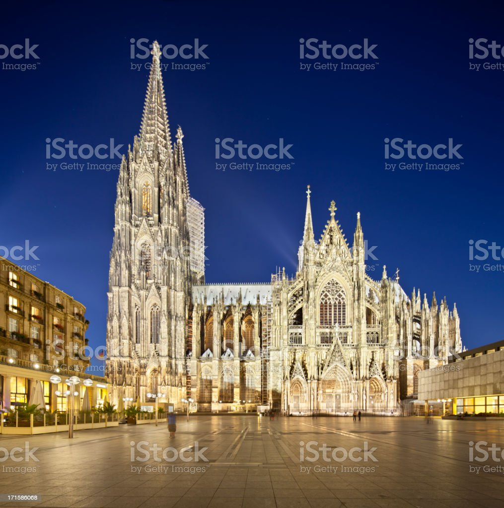 Cologne Cathedral At Night royalty-free stock photo
