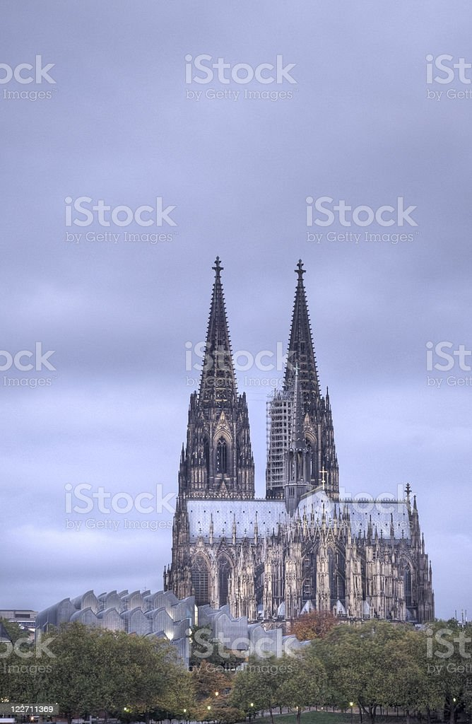 Cologne Cathedral early morning, HDR, copy space stock photo