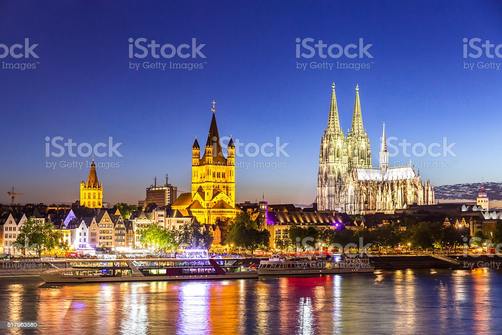 Cologne Cathedral River Rhine stock photo