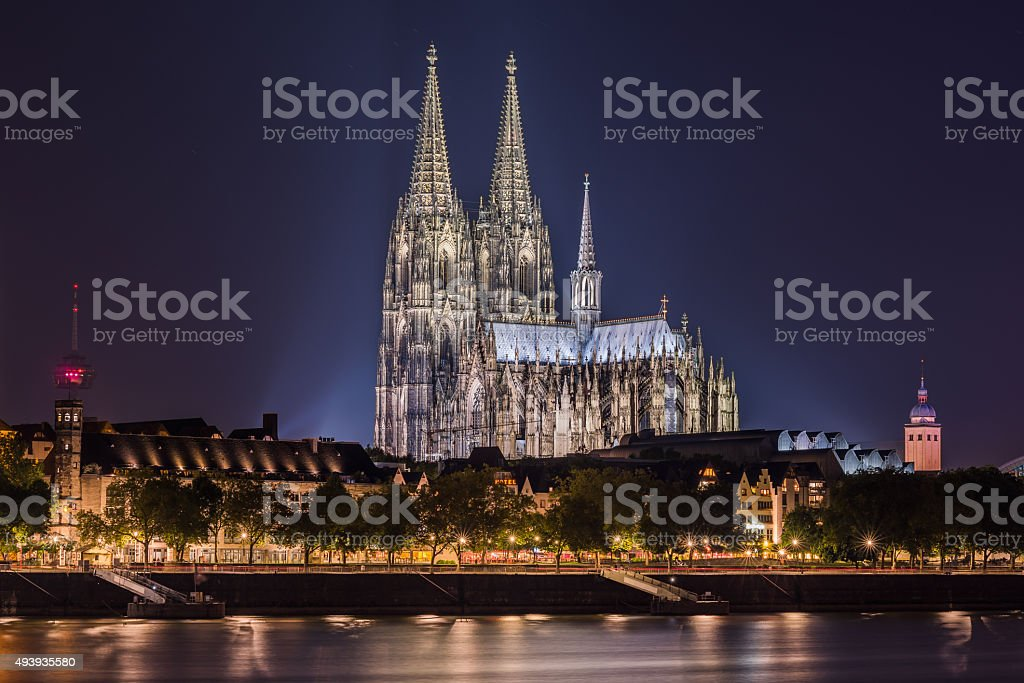 Cologne Cathedral seen at night stock photo