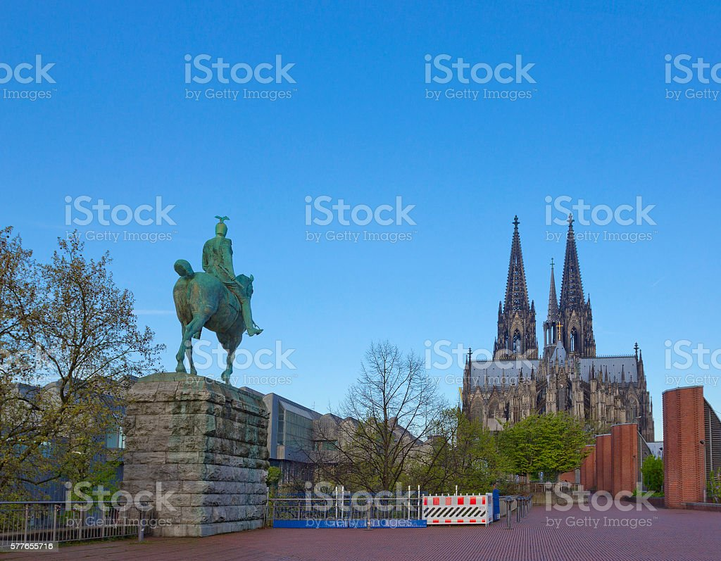 Cologne cathedral with equestrian statue of Kaiser Wilhelm II stock photo