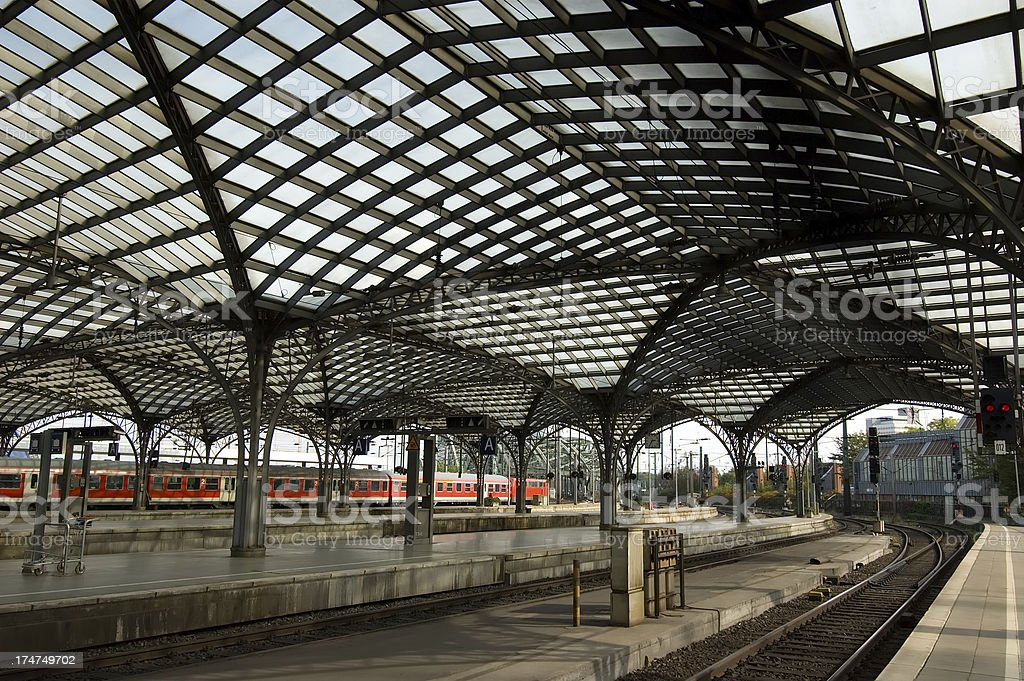Cologne central station with train stock photo