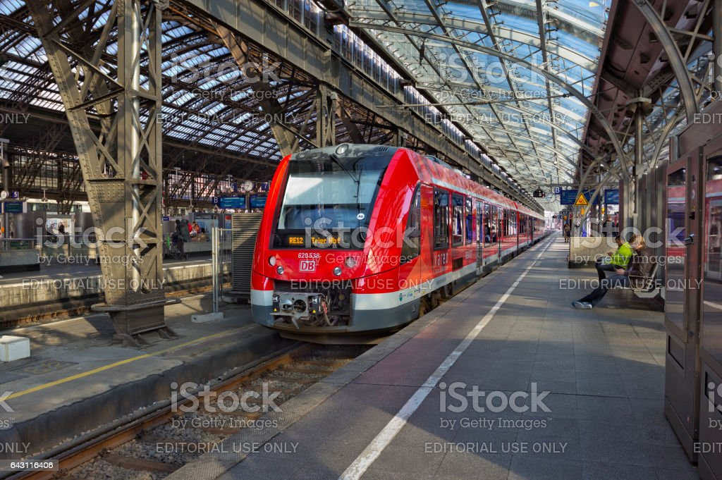 Cologne central train station with train, Germany stock photo