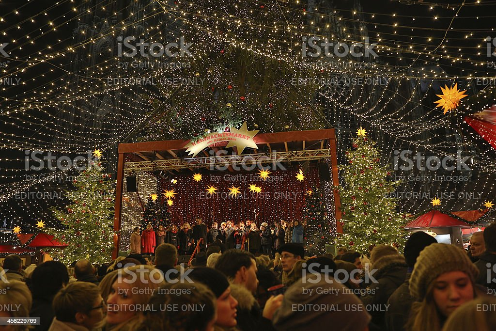 Cologne Christmas Market and Dom Choir royalty-free stock photo