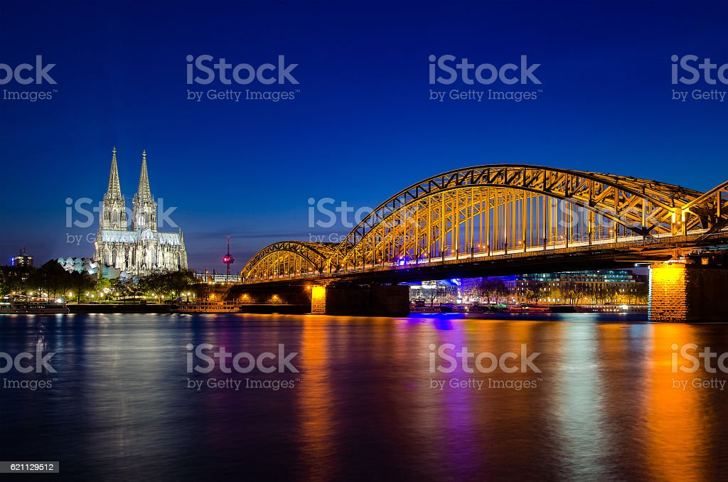 Cologne, Germany. Image of Cologne with Cologne Cathedral. stock photo