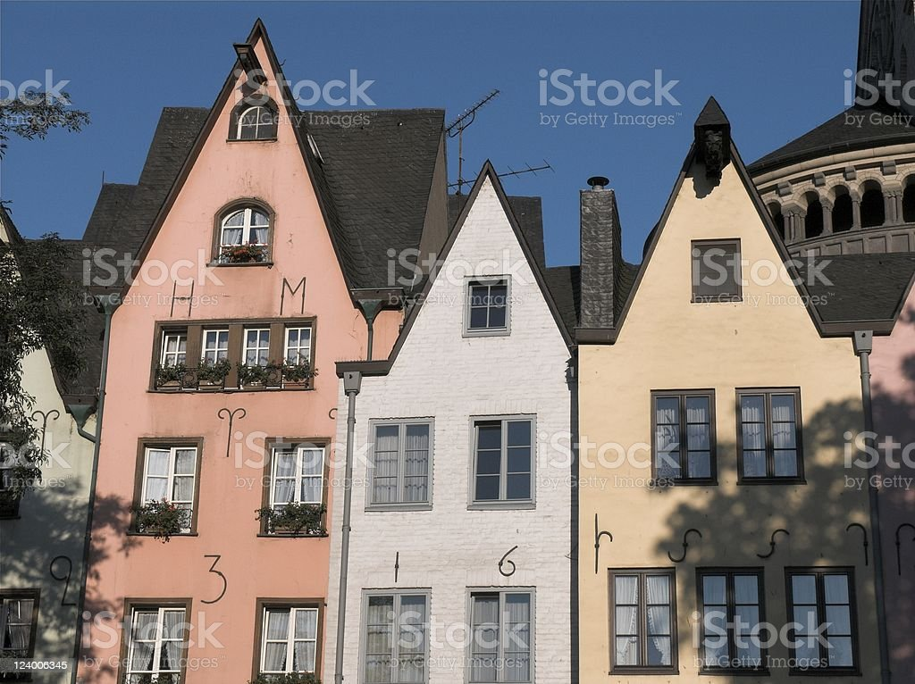 Cologne painted houses royalty-free stock photo