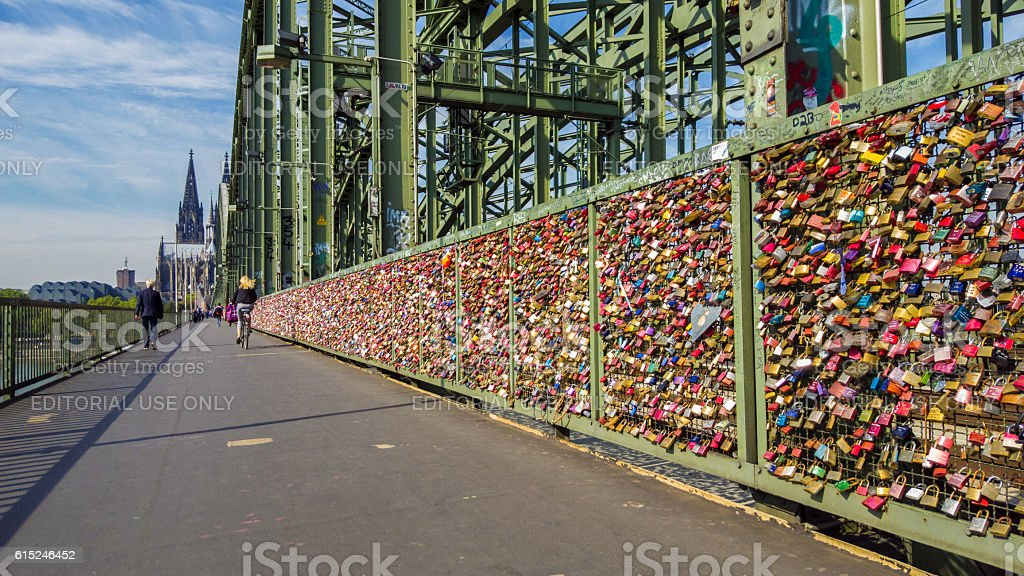 Cologne, people at the bridge of love padlocks stock photo
