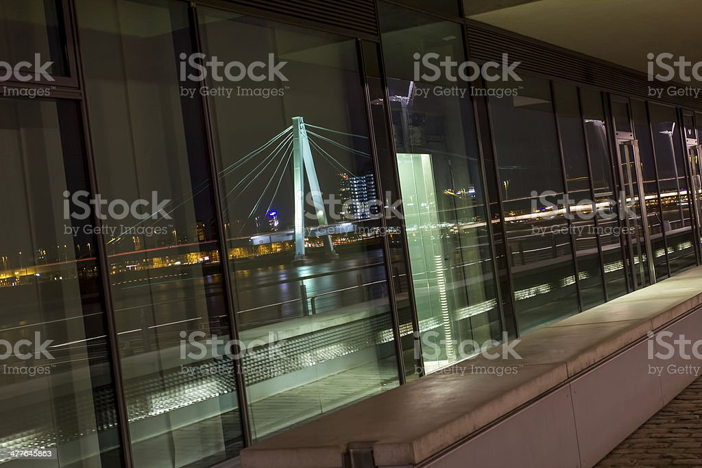 cologne rheinauhafen at night stock photo