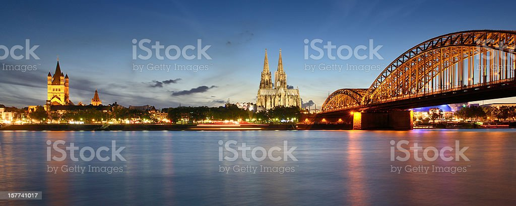 Cologne Skyline with Cathedral At Sunset (XXXL) stock photo