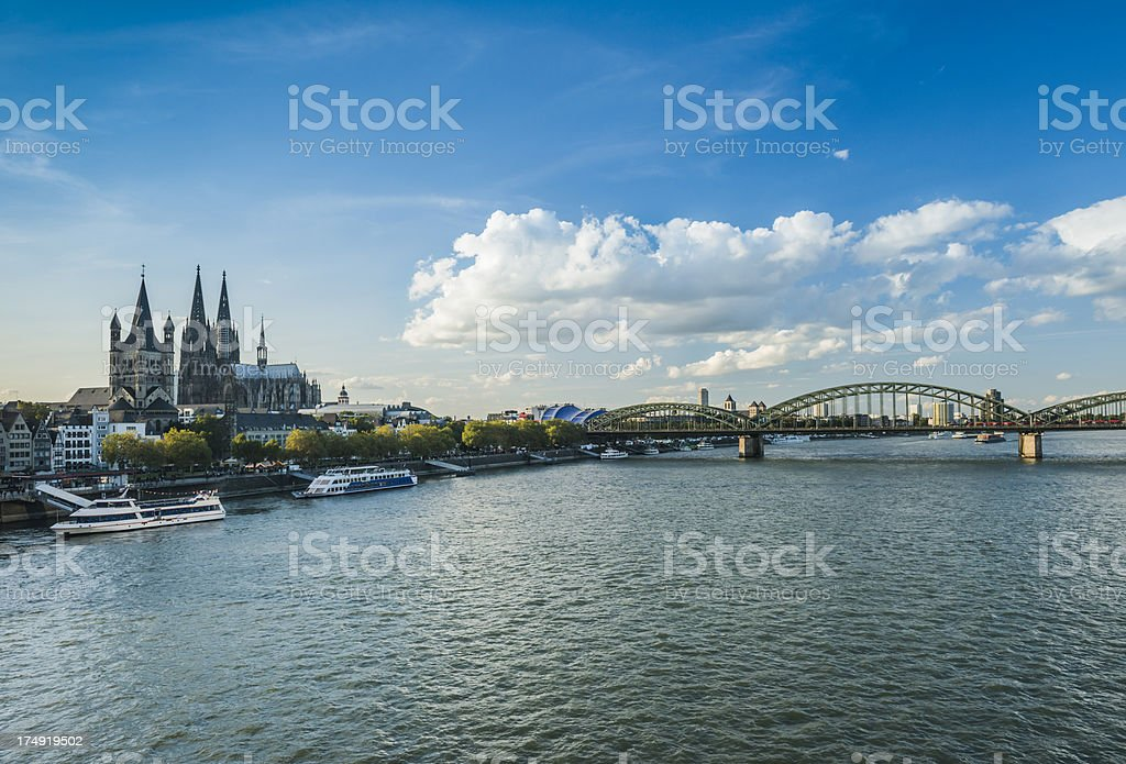 cologne skyline with rhine river stock photo