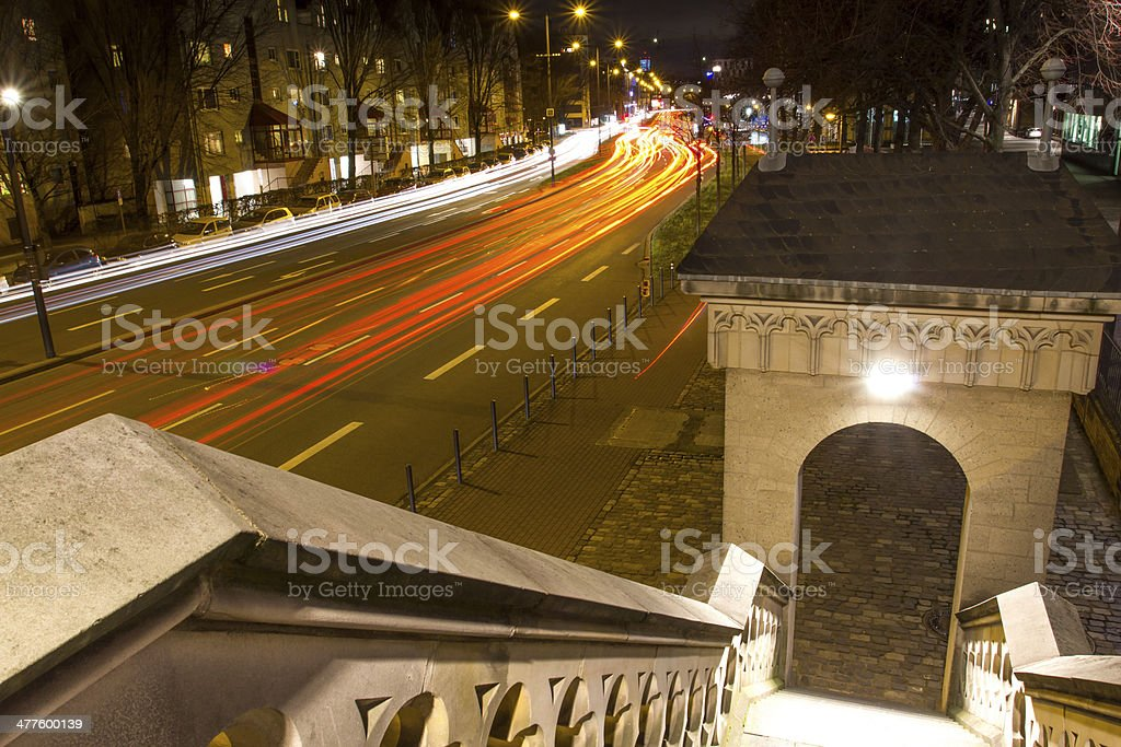 cologne street at night stock photo