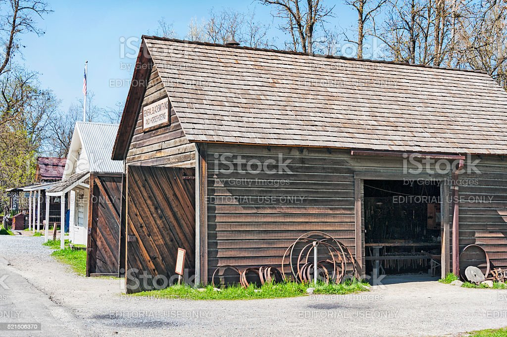 Coloma Main Street Views with Buildings and Signs stock photo