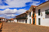 Colombia: 16th Century town of Villa de Leyva; main plaza.
