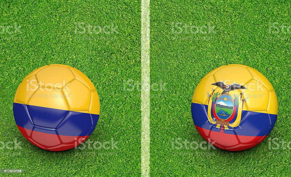 Colombia and Ecuador team balls for a football preliminary game stock photo