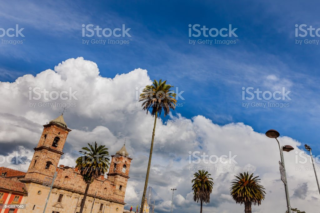 Colombia - Andean Skies in Zipaquira town, from Main Square stock photo