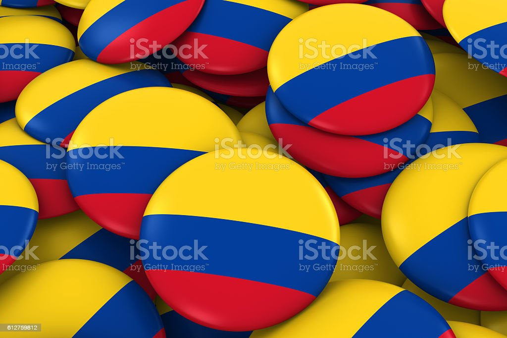 Colombia Badges Background - Pile of Colombian Flag Buttons stock photo