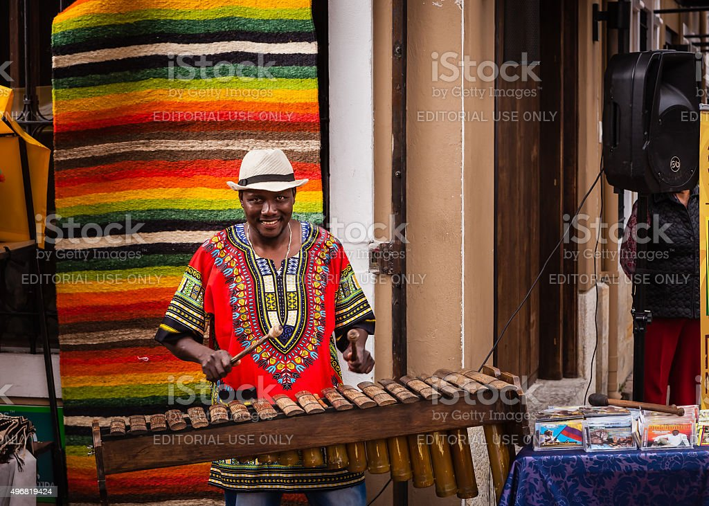 Colombia - Black Marimba player on Plaza Usaquén. stock photo
