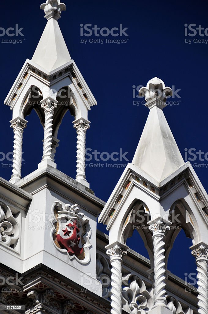 Colombia - Bogot?: Iglesia del Carmen, turrets detail stock photo