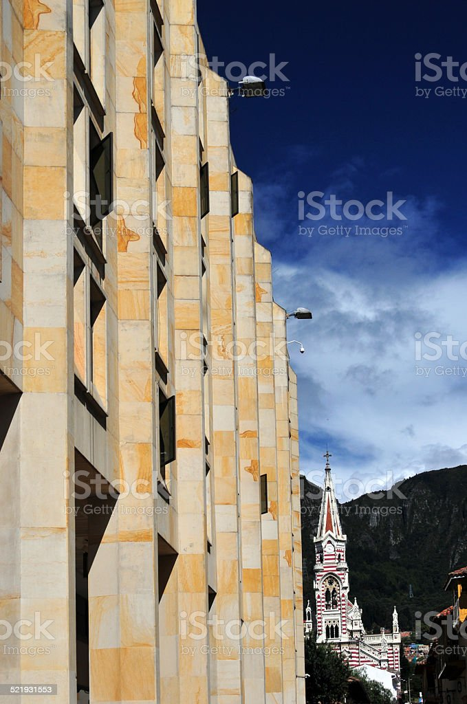 Colombia: Congress and Carmen church stock photo