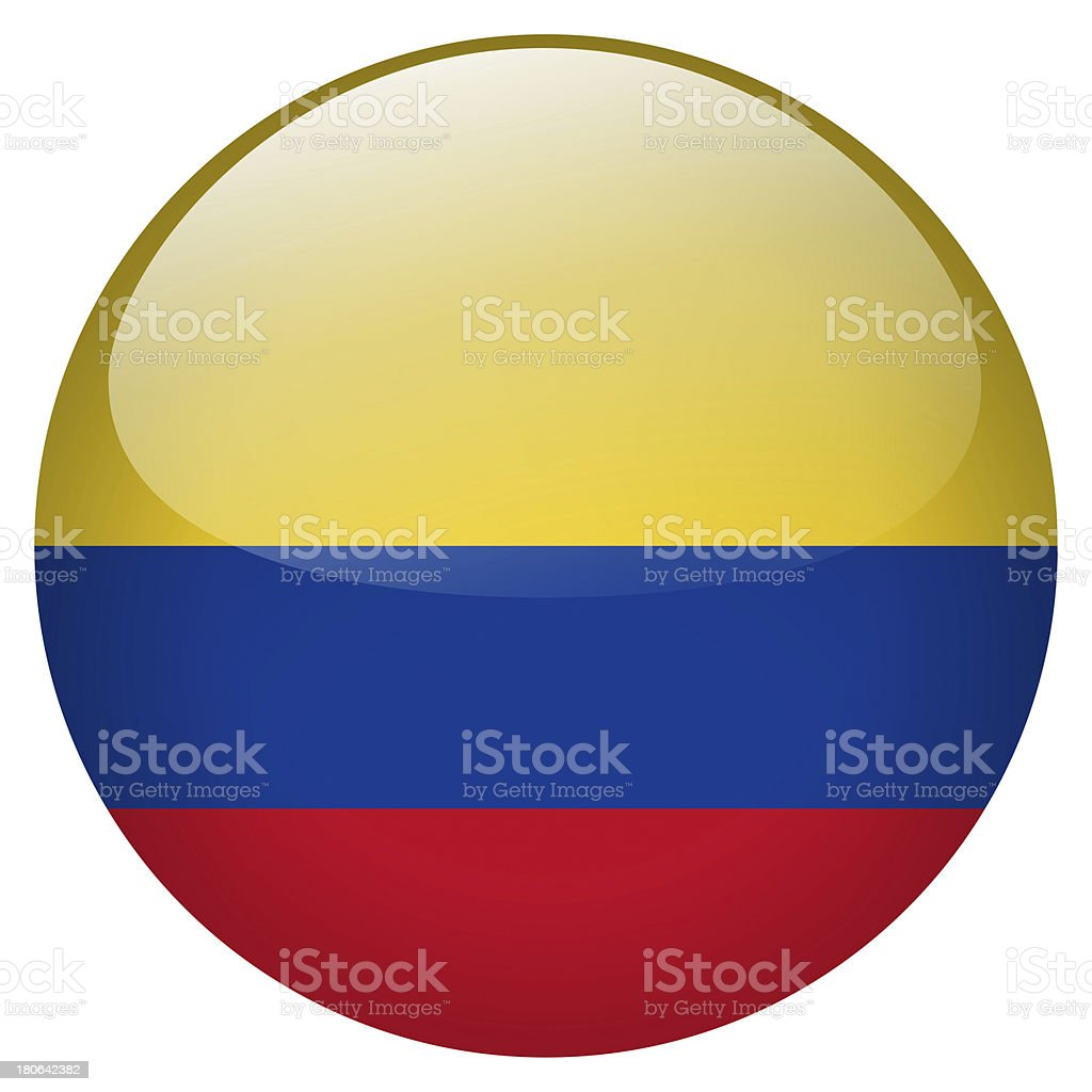 Colombia flag button stock photo