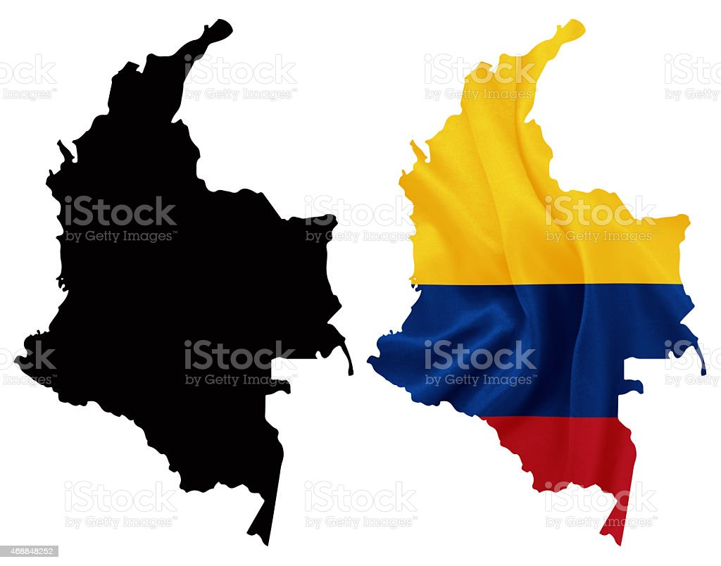 Colombia - Flag on map contour with silk texture vector art illustration
