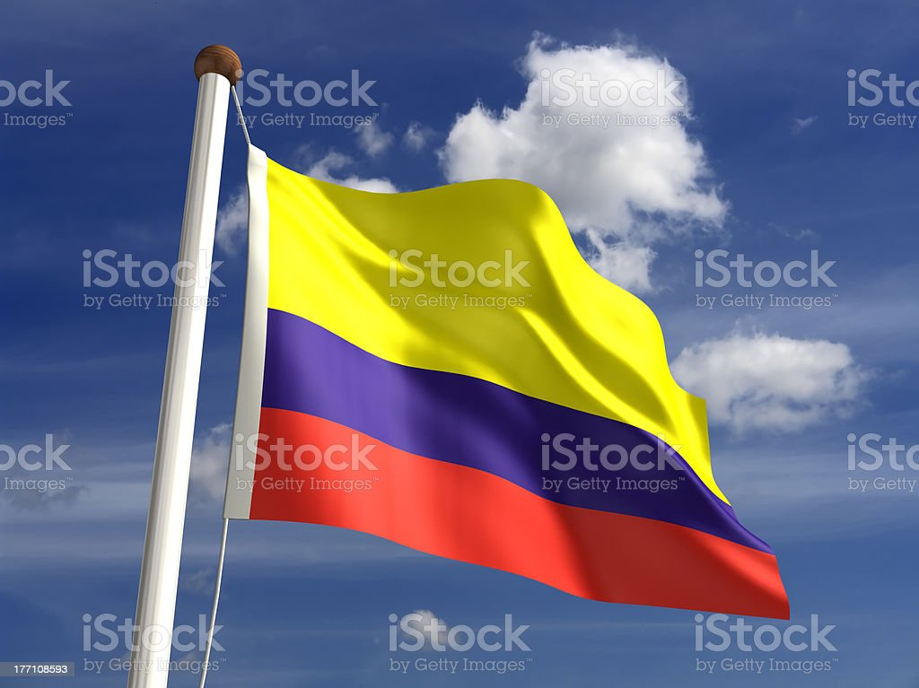 Colombia flag (with clipping path) stock photo